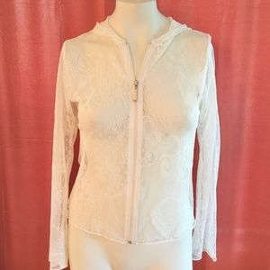*4for$25 NWT VINE ST. Ivory Lace Zip Hoodie SZ S